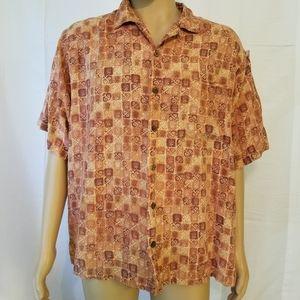 Tommy Bahama orange button up Hawaiian shirt silk